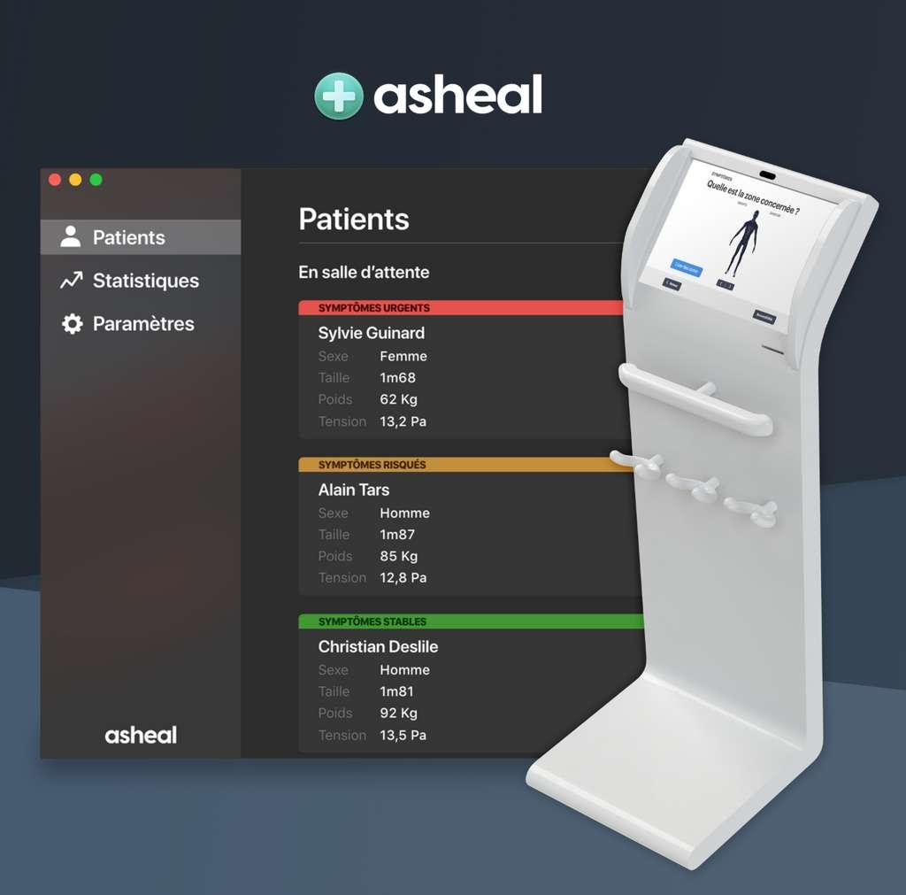 La borne de pré-diagnostic Asheal prend les mesures du patient et renseigne le médecin sur ses symptômes. © Lucas Portet